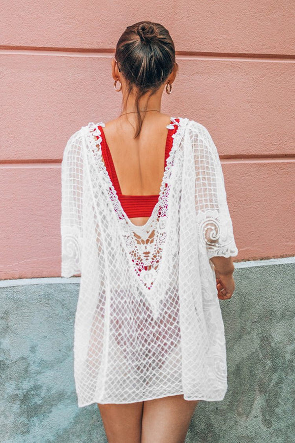 Cover up en crochet blanc