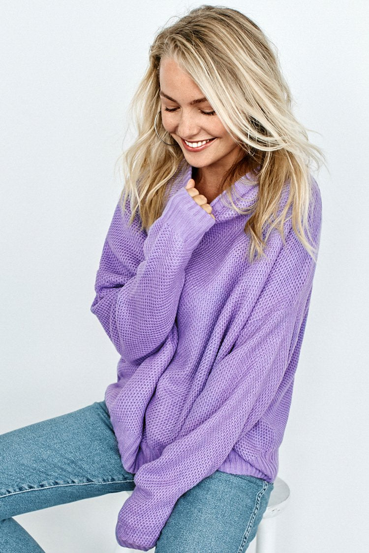 Pull en tricot lilas
