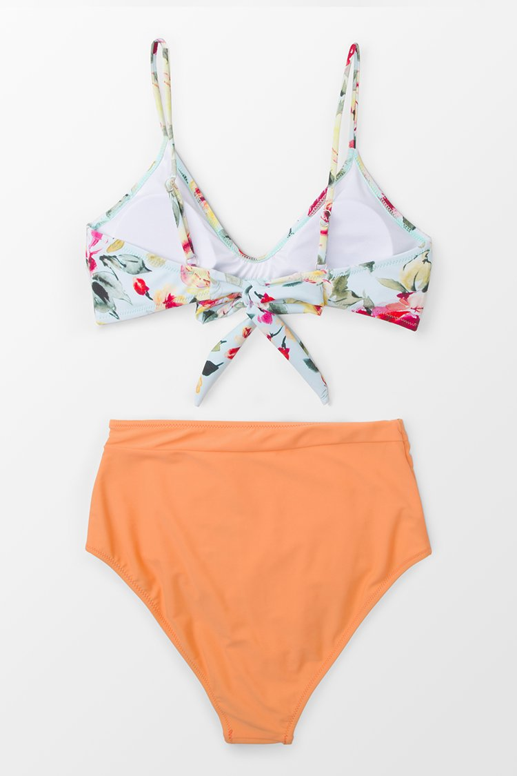 Bikini taille haute Floral Orange Crush