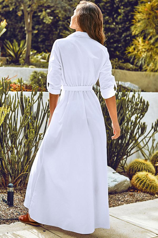 Robe chemise longue blanche