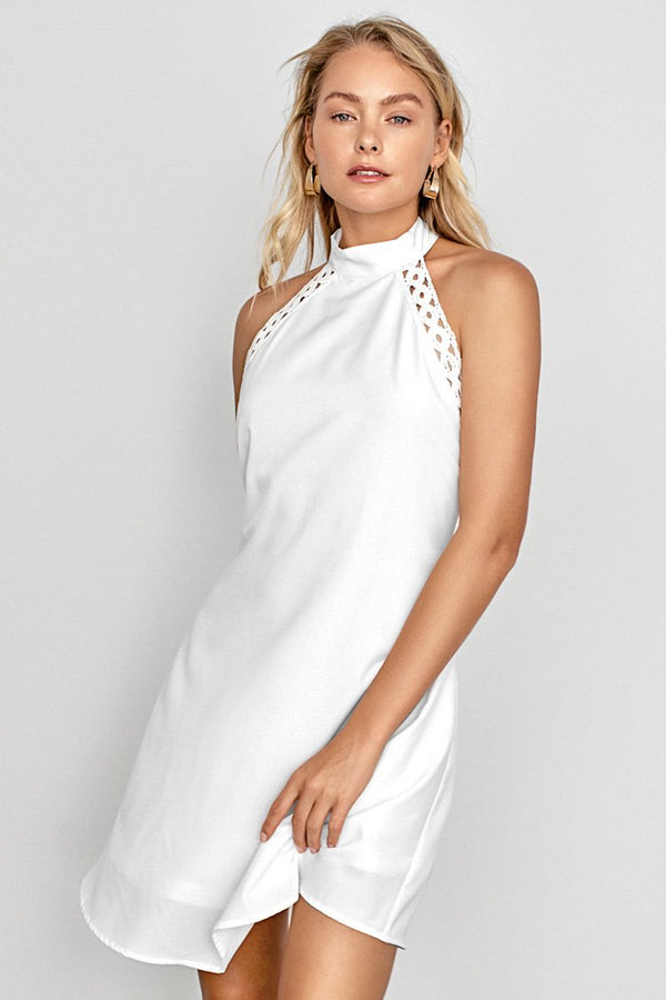 Robe dos-nu blanche à col montant
