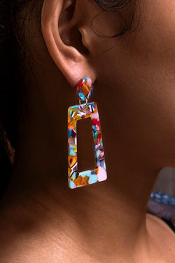 Boucles d'oreilles rectangle multicolore
