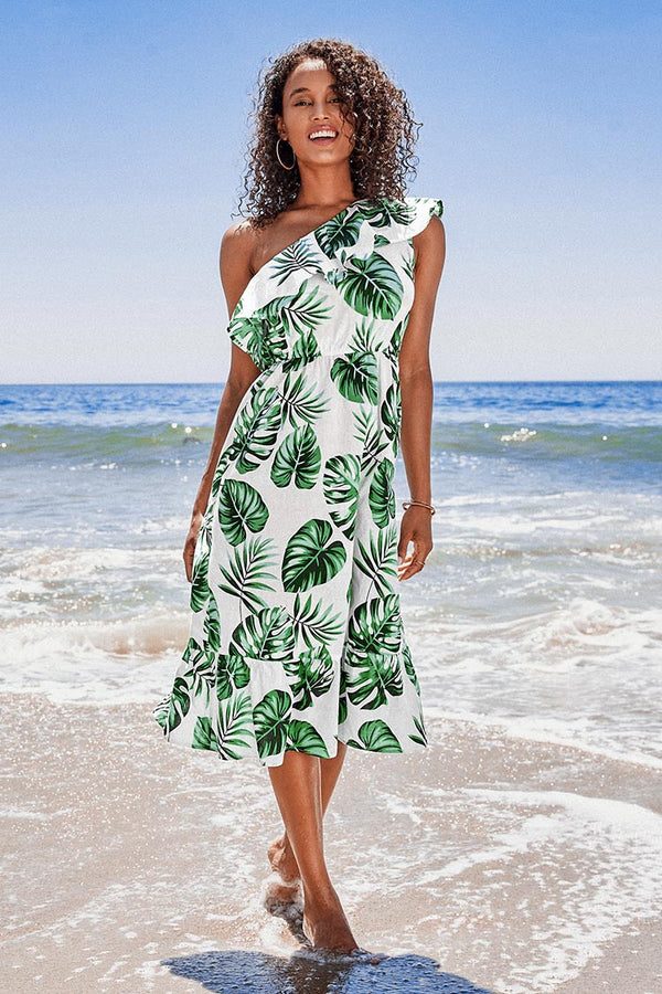 Robe asymétrique à volants imprimé tropical