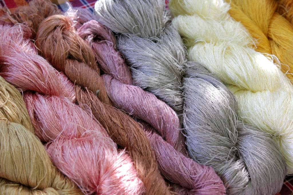 silk yarns in soft pastel colors