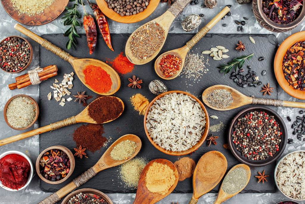 mixed spices and grains