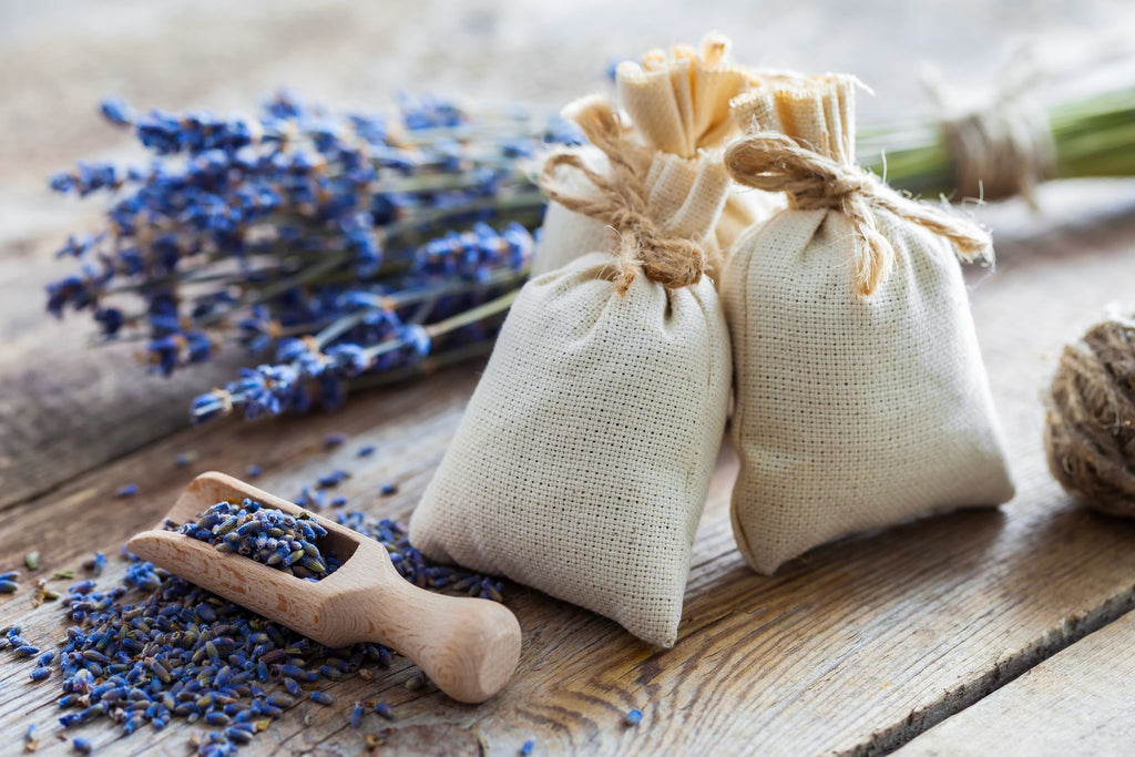 lavender bags with sprigs of lavender