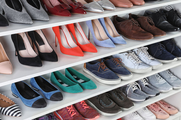 a rack full of shoes