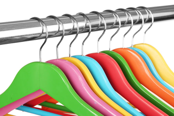 brightly colored hangers