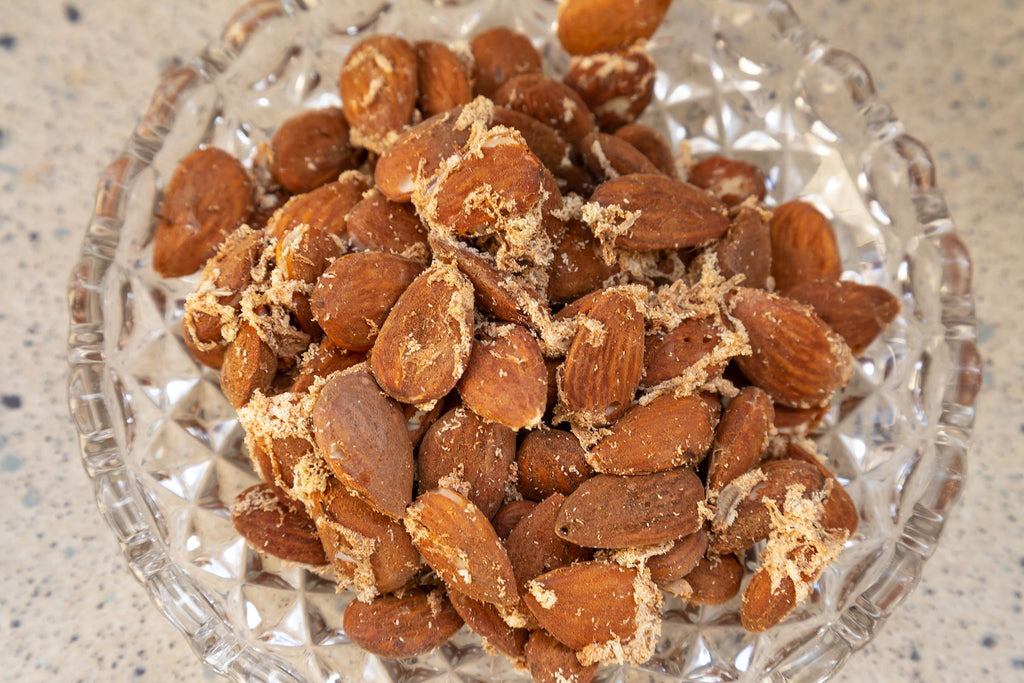 jar of almonds invaded by Pantry Moths