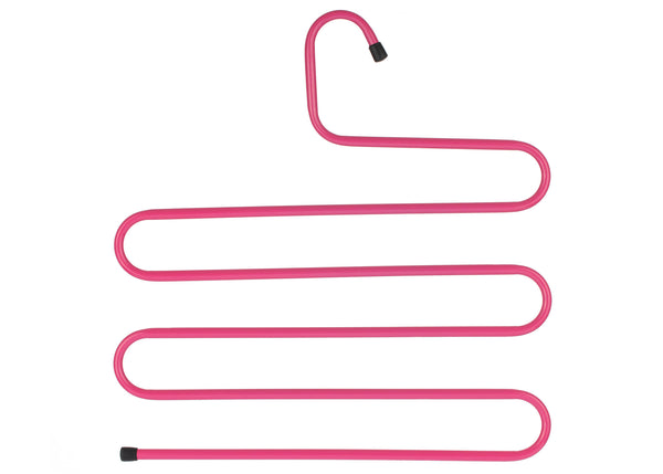 an s-shaped hanger to help save space hanging multiple pieces