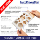 Powerful Clothes & Carpet Moth Traps | 3 Pack | Proven Best Catch-Rates in the USA