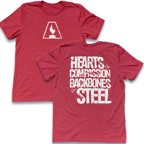 Hearts/Backbones T-SHIRT (Raspberry)  *Special Edition*