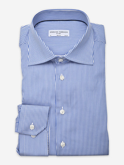 Royal Blue Striped Poplin Shirt