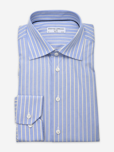 Yellow & Blue Striped Poplin Shirt