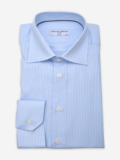 Light Blue Striped Poplin Shirt