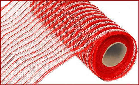 "Poly/Jute Mesh - 10.5""x10 yds Red/white cotton - unique in the creek canada"