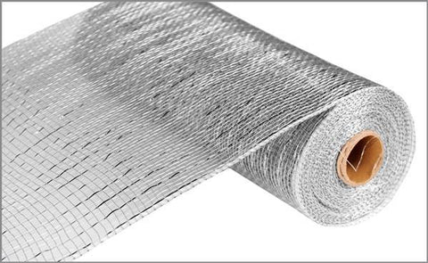 "Deco mesh - 10"" x 10yd  SILVER with silver Foil - unique in the creek canada"