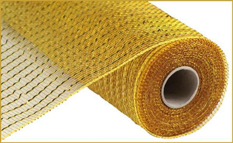 "Deco mesh - 10"" x 10yd GOLD/BROWN with gold Wide Foil - unique in the creek canada"