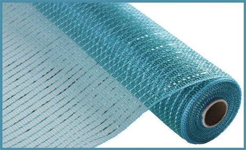"Deco mesh - 10"" x 10yd TEAL with TURQUOISE Wide Foil - unique in the creek canada"