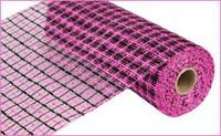 "Deco Mesh- 10"" x 10yds Black and Hot Pink Basketweave - unique in the creek canada"