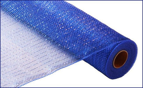 "Deco mesh - 21"" x 10yd ROYAL BLUE with blue Foil - unique in the creek canada"