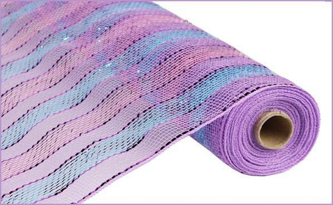 "Deco mesh - 21"" x 10yd Turquoise/Lavender/Pink w/ Purple Metallic - unique in the creek canada"