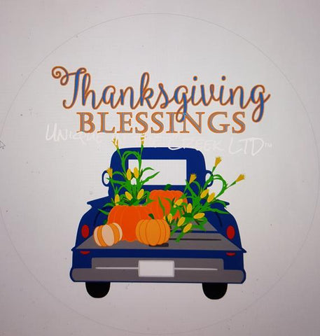"35. THANKSGIVING BLESSINGS TRUCK ""PAPER"" image center - unique in the creek canada"