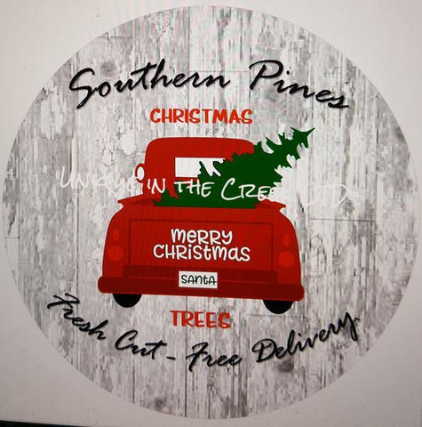 "42. SOUTHERN PINES RED TRUCK  ""PAPER"" image center - unique in the creek canada"
