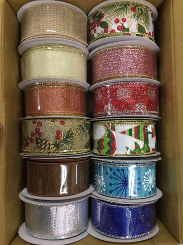 "12 ROLLS OF 1.5""X10YRD CHRISTMAS WIRED RIBBON, ASSORTMENT WREATH RIBBON - unique in the creek canada"