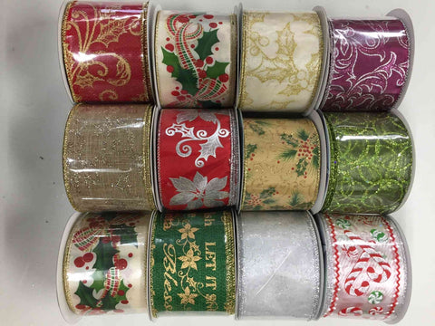 "12 ROLLS OF 2.5""X10YRD CHRISTMAS WIRED RIBBON, ASSORTMENT WREATH RIBBON - unique in the creek canada"