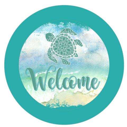 "632.   Welcome Sea turtle ""VINYL"" image center"