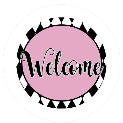 "643.  Welcome black, white pink  ""VINYL"" image center"
