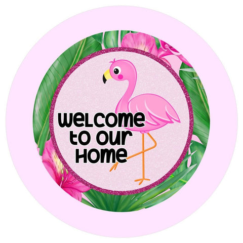 "648.  Welcome to our Home Flamingo ""VINYL"" image center"