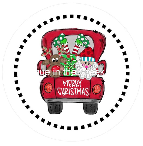 688.  Merry Christmas Truck Vinyl image center
