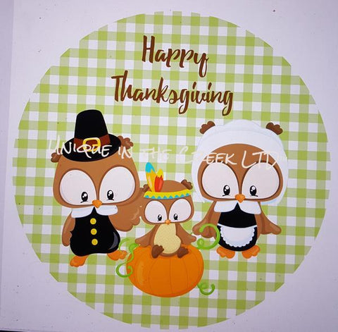 "77. HAPPY THANKSGIVING OWLS ""PAPER"" image center - unique in the creek canada"