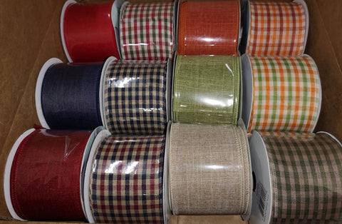 "12 ROLLS OF 2.5""X10YRD FALL WIRED RIBBONS, ASSORTMENT WREATH RIBBON - unique in the creek canada"