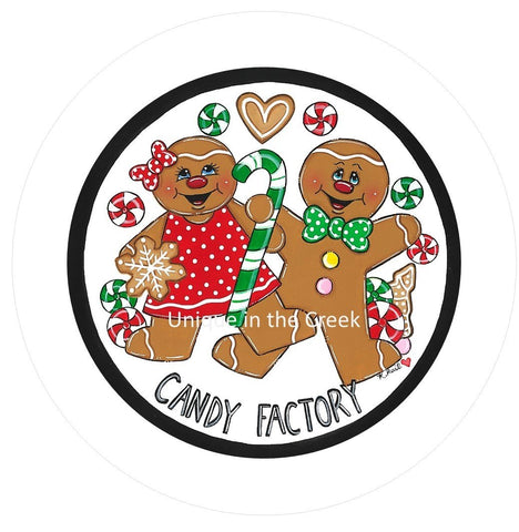 Kristi Rail - Gingerbread candy factory Vinyl Image Insert Wreath Signage  - Exclusive Original Image by Artist Kristi Rail
