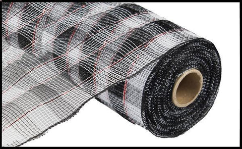 "Plaid Mesh - 10"" x 10yd WHITE/BLK WITH RED FOIL - unique in the creek canada"