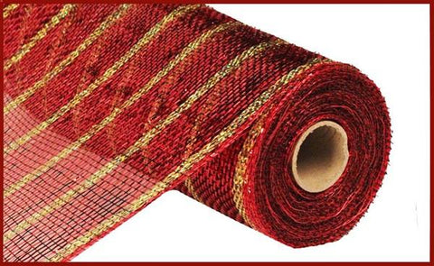 "10.25""X10yd Deluxe Metallic Stripe Antique Red/Laser Gold"