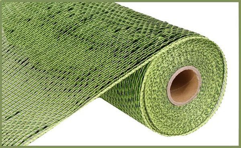 "10.25""X10YD DELUXE WIDE FOIL MESH - MOSS/APPLE W/LIME FOIL"