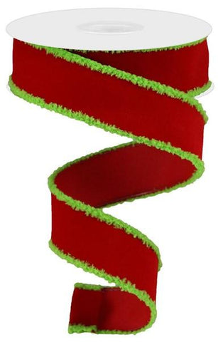 "1.5""X10YD VELVET W/SNOWDRIFT - RED/LIME GREEN"