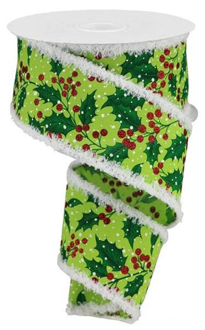 "2.5""X10YD holly and glitter berries with chenille trim"