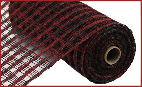 "10""X10YD TWO-TONE POLY BURLAP CHECK MESH - RED/BLACK"