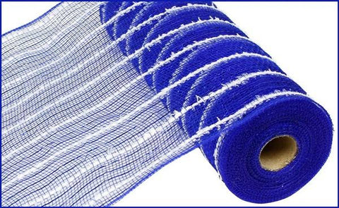 "10.5""X10YD METALLIC SNOWDRIFT MESH - ROYAL BLUE/WHITE"