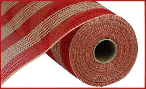 "10.5""X10yd FABRIC MESH SMALL stripe RED/NATURAL WIDE STRIPE - unique in the creek canada"
