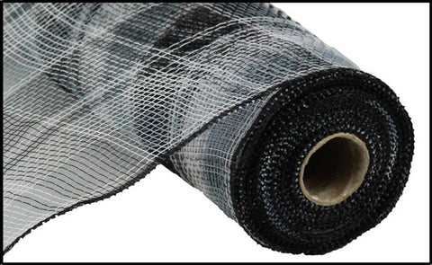 "Deco mesh - 10"" X 10 Yds Plaid Mesh black/white/grey - unique in the creek canada"
