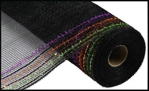 "Deco mesh - 10.5"" x 10yd BLACK/ORANGE/PURPLE/LIME TINSEL/FOIL WIDE BORDER MESH"