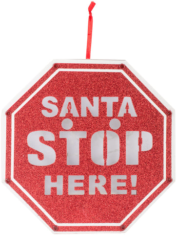 Led Light Up Santa Stop Here Sign - unique in the creek canada
