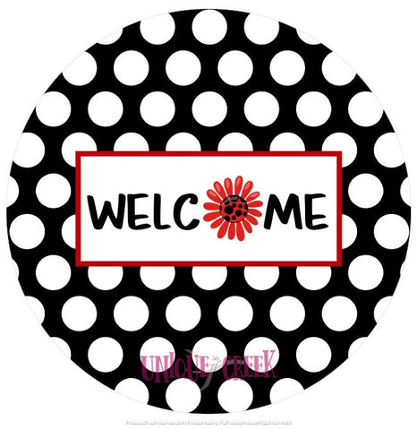 UITC™ Welcome polka dot Image Insert Wreath Signage - unique in the creek canada