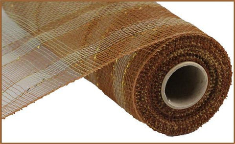 "Deco mesh - 10"" X 10 Yds Plaid Metallic Mesh BRONZE/NAT/GOLD - unique in the creek canada"